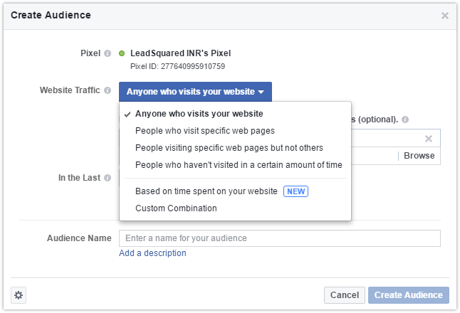 facebook remarketing - create audience